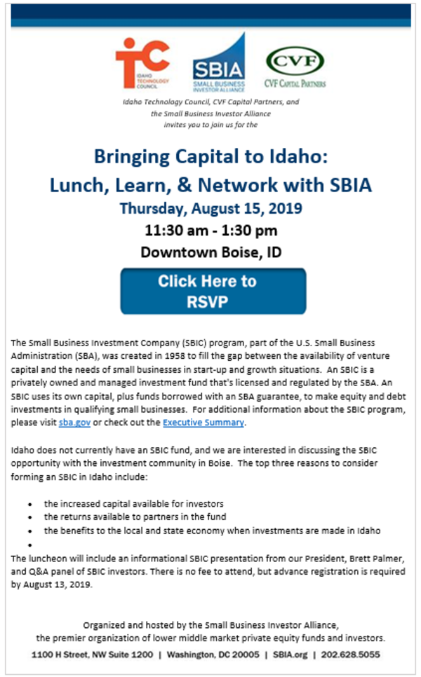 Bringing Capital to Idaho: Lunch, Learn, & Network with SBIA